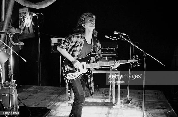 bassist Geddy Lee from Rush performs on a video shoot in Battersea London in April 1984