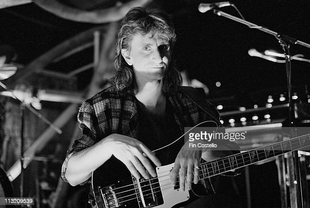 bassist Geddy Lee from Rush posed on a video shoot in Battersea London in April 1984