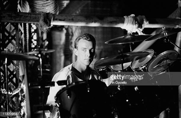 drummer Neil Peart from Rush performs on a video shoot in Battersea London in April 1984