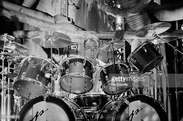 drummer Neil Peart from Rush plays on a video shoot in Battersea London in April 1984