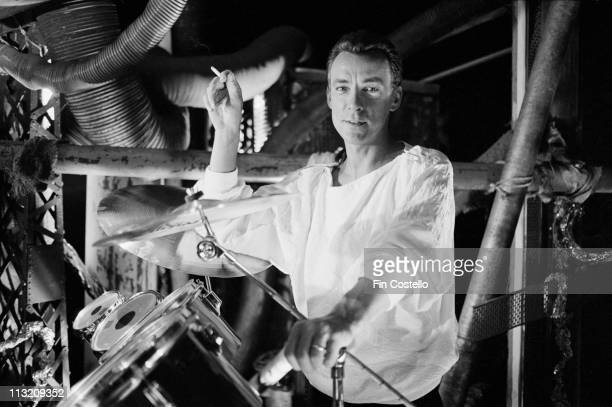 drummer Neil Peart from Rush poses on a video shoot in Battersea London in April 1984