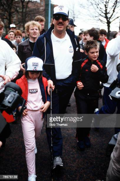 1st April Harp Lage walk Belfast Ireland England Cricket star Ian Botham joined by his children Liam and Sarah on the early stages of his charity...