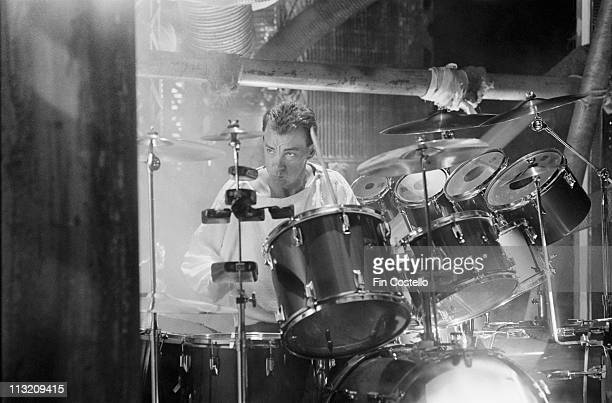Neil Peart from Rush performs on a video shoot in Battersea London in April 1984