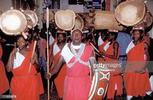 1st APRIL: The Burundi Drummers performing on stage at the Paradiso in Amsterdam, Netherlands on 1st April 1990.