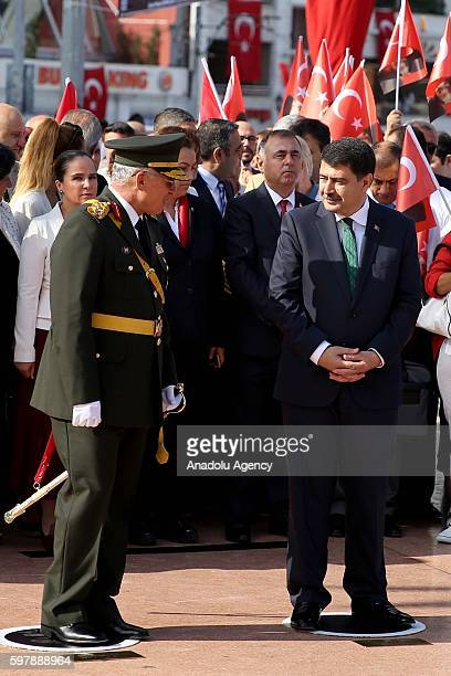 1st Army Commander Musa Avsever and Istanbul Governor Vasip Sahin attend ceremony at Taksim Republic Monument to mark 94th Anniversary of Turkeys...