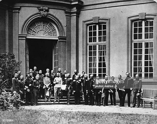 The Congress of Princes at Frankfurt on Main, gathered to reform the German Confederation. Centre, in white uniform, is Franz Joseph I of Austria,...