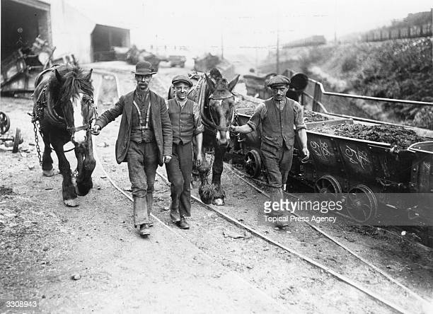 Men with their ponies on the way to the pit mouth after the settlement of the 1915 coal strike