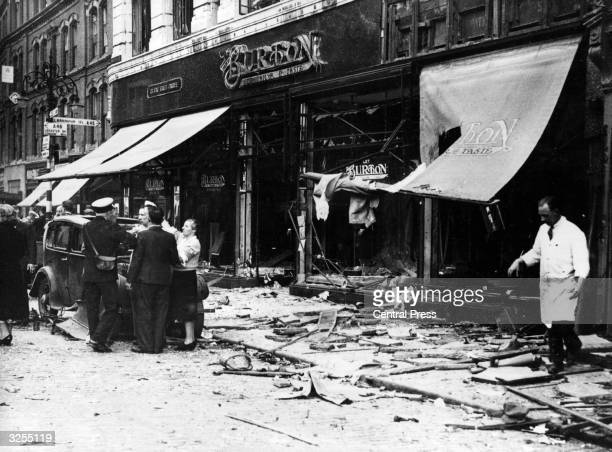 Damage from an IRA bomb attack in Broadgate Coventry
