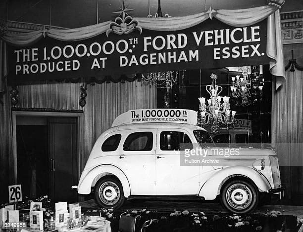 A Ford Prefect saloon car on view at the Dorchester Hotel where the Minister of Supply offered congratulations to the Ford Motor Company on producing...