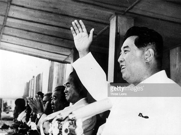 North Korean dictator Kim Il Sung addresses a rally on North Korea's 'Liberation Day'