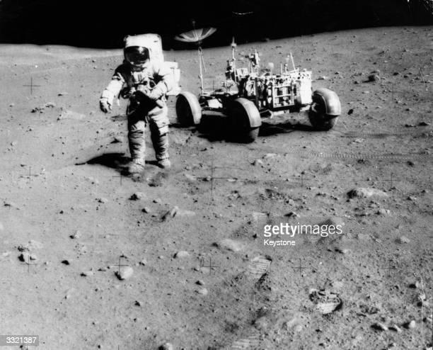 Apollo 15 astronaut James Irwin exploring the moon