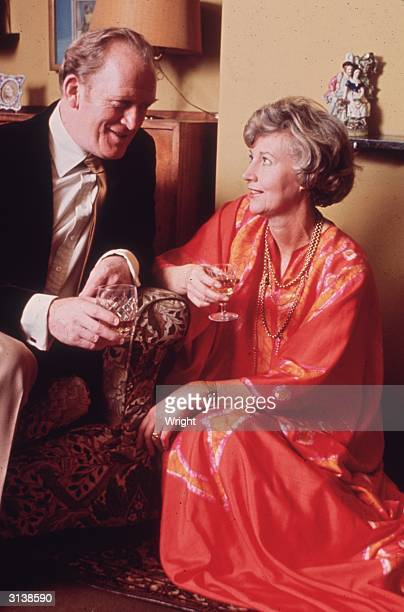 Scottish actor Gordon Jackson who plays Hudson the butler in the television series 'Upstairs Downstairs' at home with his wife Rona Anderson
