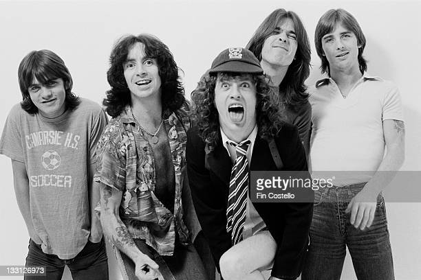 Australian rock band AC/DC posed in a studio in London in August 1979 Left to right Malcolm Young Bon Scott Angus Young Cliff Williams and Phil Rudd