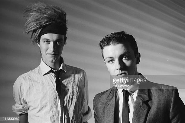 Bill Macrae and future comedian Ricky Gervais from Seona Dancing posed together in a studio in London in August 1983