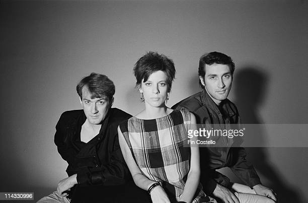 English postpunk group The Gang Of Four posed in London in August 1983 Left to Right Andy Gill Sara Lee Jon King