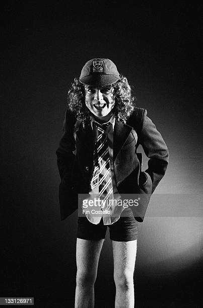 Lead guitarist Angus Young from Australian rock band AC/DC posed in a studio in London in August 1979