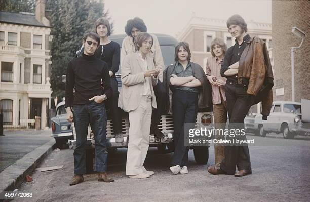 Members of the group Smile posed in Addison Gardens West Kensington London in August 1969 Left to right Bruce Sanderson Paul Humbertone Brian May...