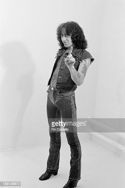 Singer Bon Scott from Australian rock band AC/DC posed in a studio in London in August 1979