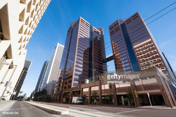1st avenue in downtown phoenix, az with office buildings - the slants stock pictures, royalty-free photos & images