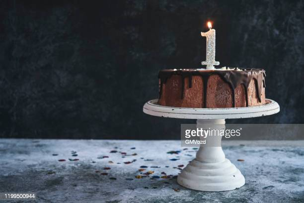 1st birthday cake - anniversary stock pictures, royalty-free photos & images