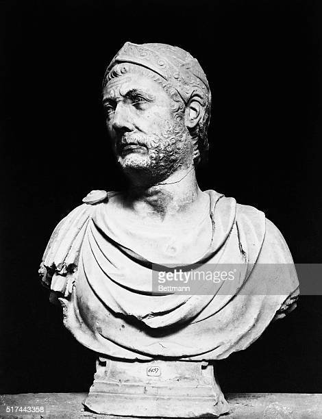1st Century BCHead and shoulders bust sculpture of Hannibal the great military leader from Carthage Naples Museum Undated photograph