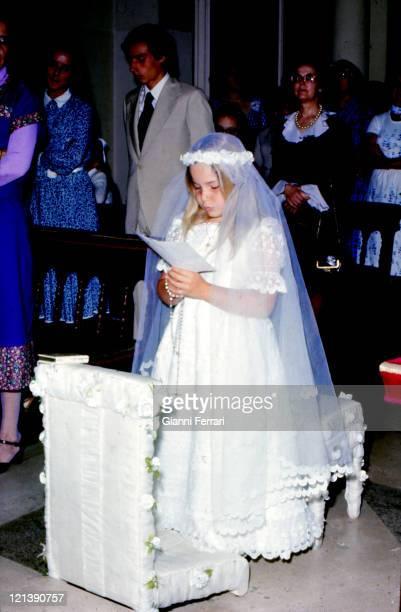 1st communion of Eugenia XI Duchess of Montoro daughter of the Duchess Cayetana of Alba at the 'Palacio de Liria' Madrid Spain