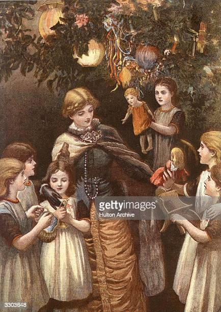 Orphans receiving gifts from the Christmas tree at the Foundling Hospital in London Original Publication The Graphic Christmas Number pub 1881 By...