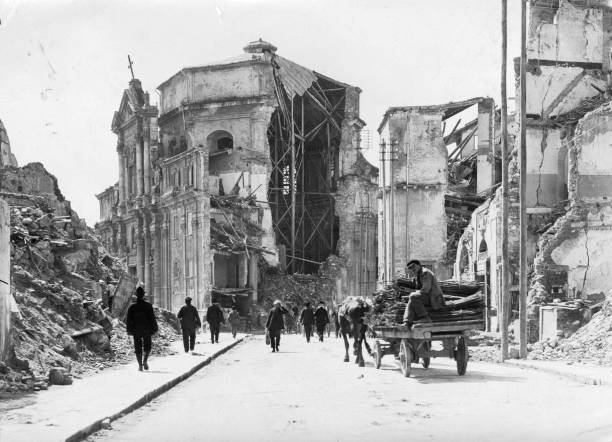 The ruins of a church, following the earthquake at...