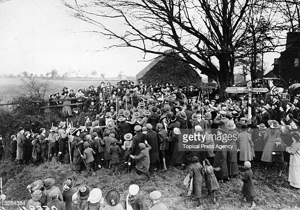 Crowds during the customary 'Beating the Bounds' in St Albans in Hertfordshire.