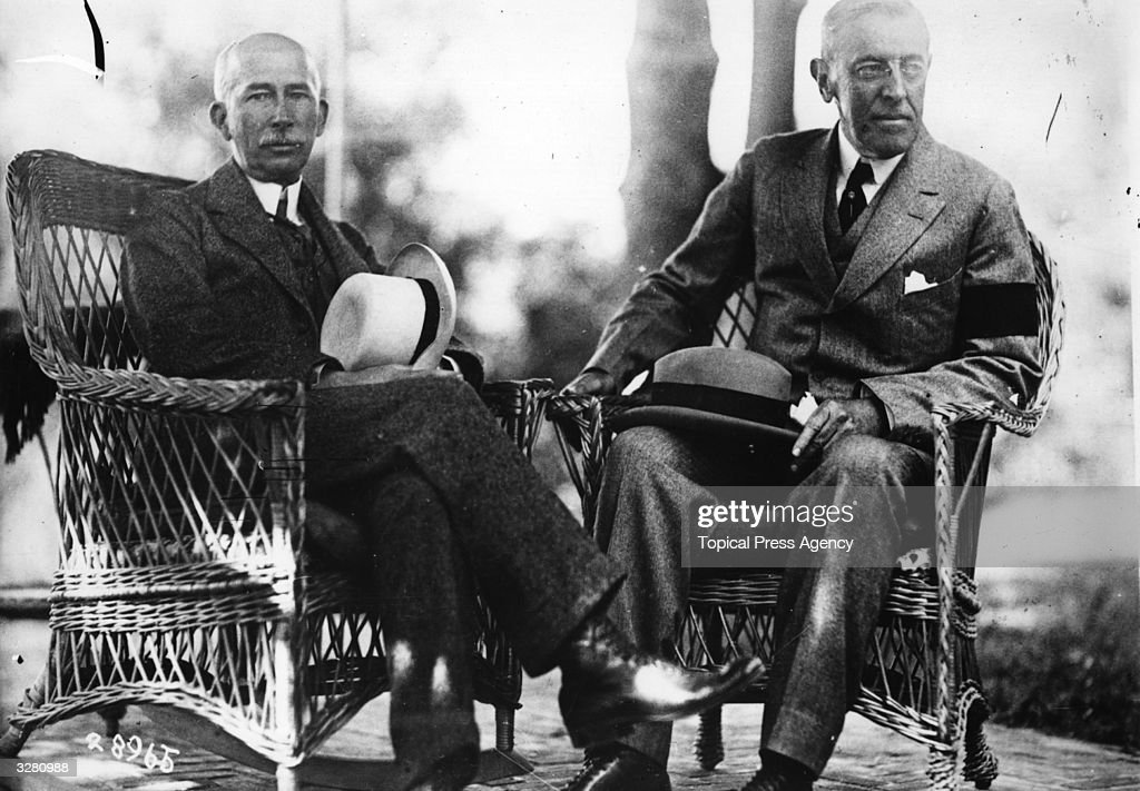 American President Woodrow Wilson (1856 - 1924), with Colonel House an American Diplomat and reputed espionage expert.