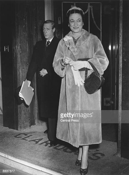 The Duke and Duchess of Windsor leaving Claridges Hotel in London