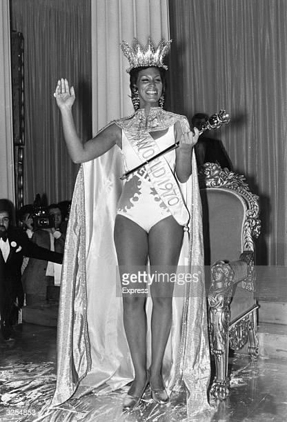 Miss World 1970 with her crown and sceptre