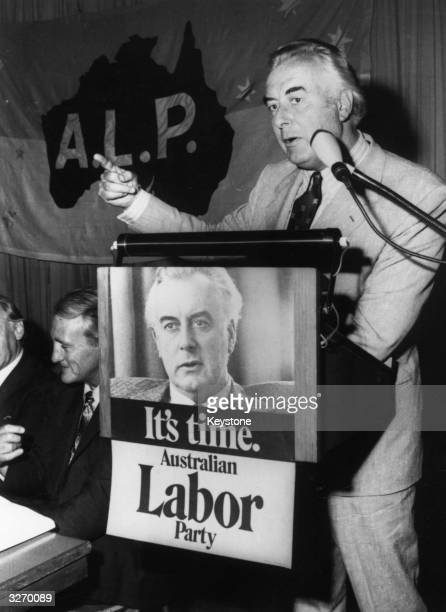 Gough Whitlam the Australian politician running for the premiership campaigning before the elections