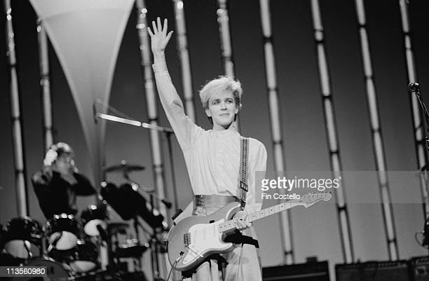 David Sylvian from Japan performs live on stage in Japan in December 1982
