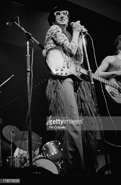English musician and singer Neil Innes performs live on stage with the group Grimms at Kingston Polytechnic in Surrey England in December 1973