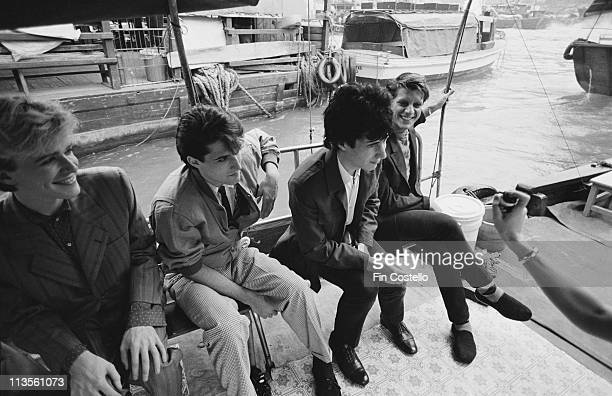 English rock group Japan posed in Japan during their final tour in December 1982 Left to Right David Sylvian Steve Jansen Richard Barbieri Mick Karn