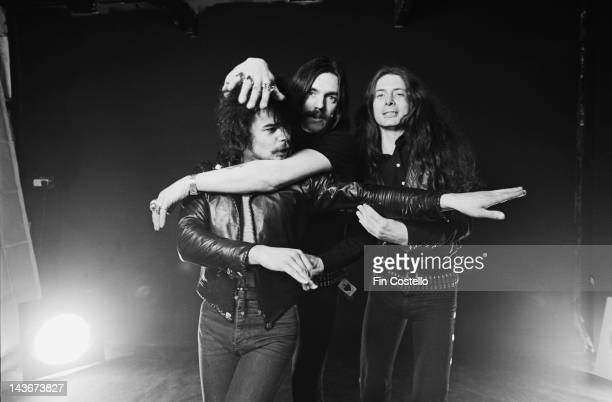 Rock band Motorhead posed in London in December 1980 Left to right Phil 'Philthy Animal' Taylor Lemmy Kilmister and 'Fast' Eddie Clarke