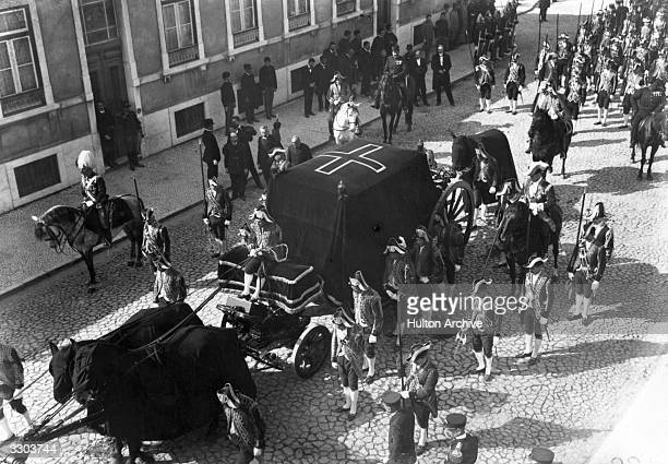 The funeral procession of the assassinated king of Portugal King Carlos I and his son in Portugal
