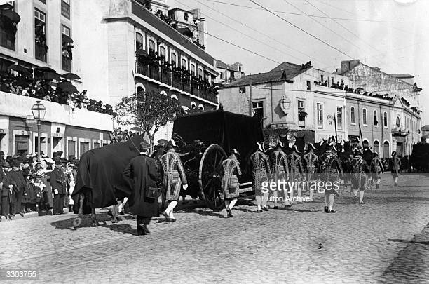 The funeral procession of the king of Portugal Carlos I and his son in Lisbon