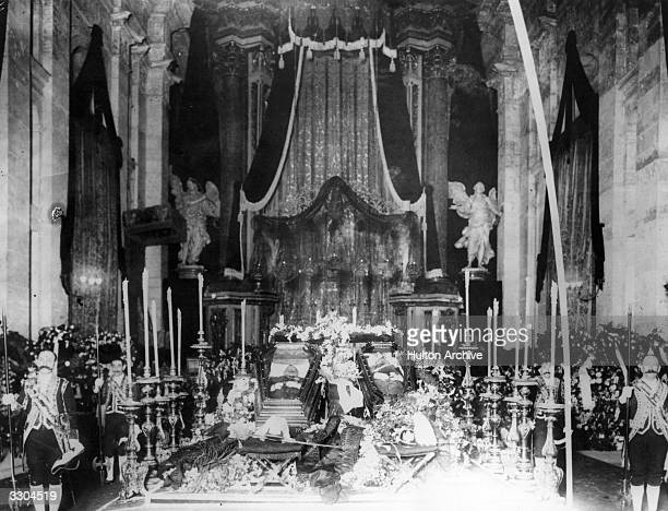 The king of Portugal King Carlos I lying in state with his son Louis after they were assassinated