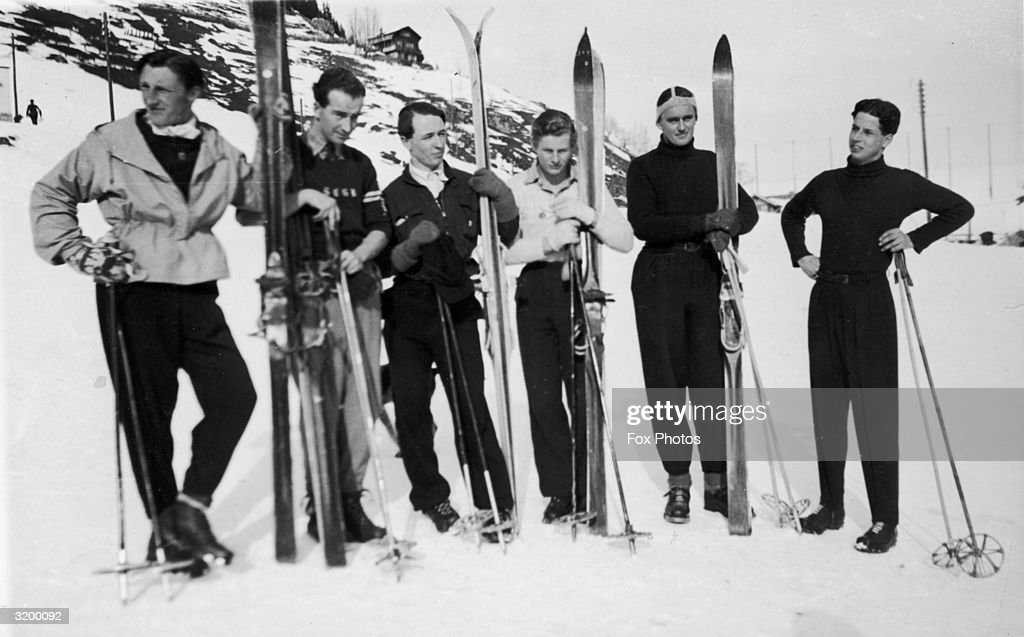 Members of the British ski team in Murren, Switzerland to prepare for the Olympic Games. Left to right; W D Fox, W J Riddell (vice captain), Peter Lunn (captain), J Palmer Tomkinson, M Rowton, and R Readhead.