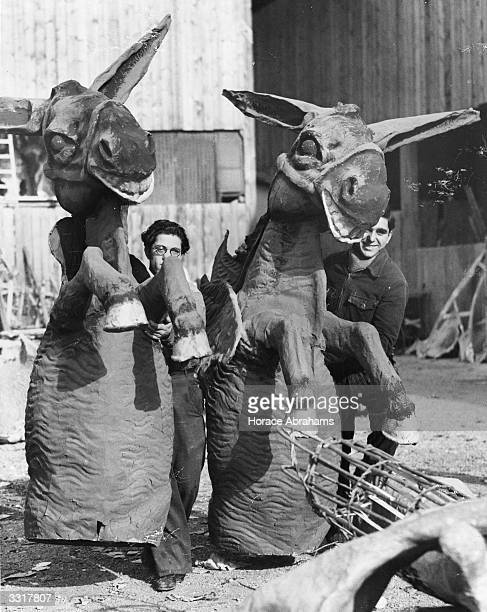 Carnival figures of donkeys for use in the Nice festival