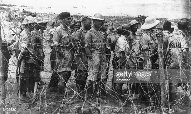 British prisonersofwar taken at Tobruk and Mersa Matruk are being transferred from a desert camp to a prison camp in Italy