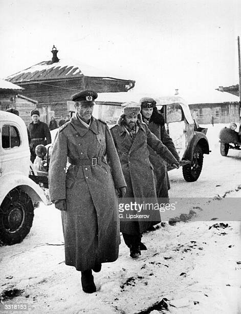 German commander of the 6th Army Field Marshal Friedrich von Paulus surrendering after his troops were besieged at Stalingrad