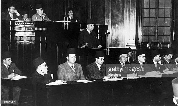 Egyptian Prime Minister Nockrachi Pacha announcing the breaking off of negotiations with the British over the revision of the 1936 AngloEgyptian...
