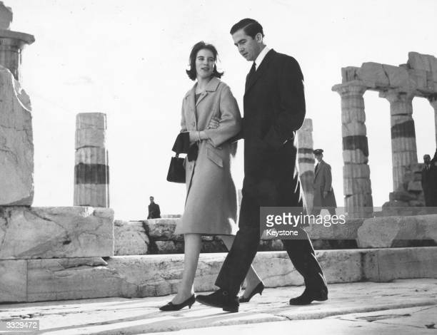 King Constantine II of the Hellenes and his fiancee Queen AnneMarie of the Hellenes at the Acropolis Athens