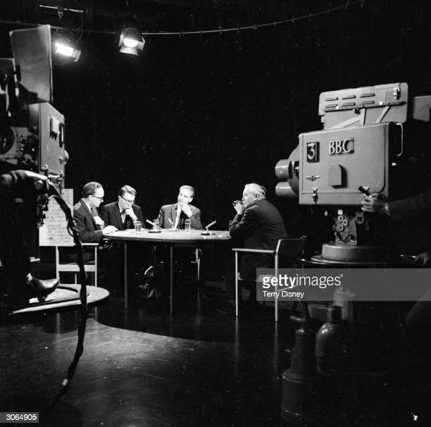 Prime Minister Harold Wilson at BBC Lime Grove TV studio being interviewed by Robert McKenzie Robin Day and Andrew Schofield