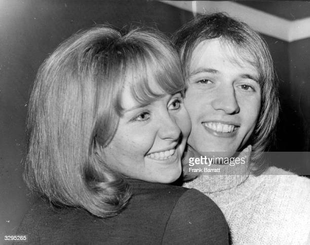 Scottish pop singer Lulu and her husband Maurice Gibb , singer with pop group the Bee Gees, shortly after Lulu had shaved Maurice's beard off in...
