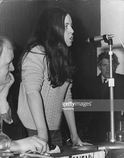 Independent Unity MP for MidUlster and youngest MP in Britain Bernadette Devlin campaigning for civil rights in Northern Ireland after the Bloody...