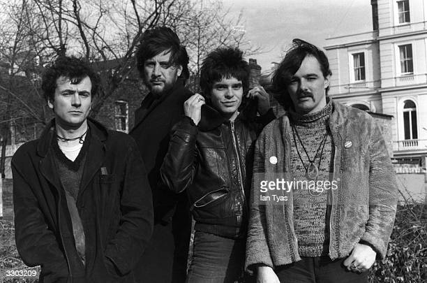 British pop punk group The Stranglers at the start of their controversial recording career From left to right Hugh Cornwell Jet Black Jean Jacques...